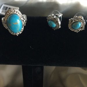 Jewelry - Mojave blue turquoise earrings and ring set